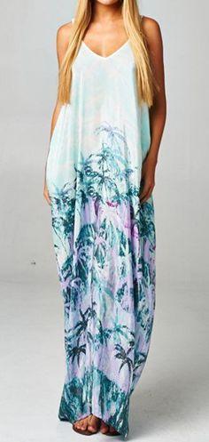 Mint/Faded Turquoise Boho Slouchy Maxi Dress ==
