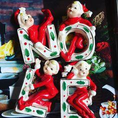 Vintage Christmas Set of 4 NOEL Letters Figurine by VioletBeans