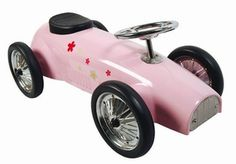 Marquant Bloemen 8605 Pink, Metalen Retro Loopauto.