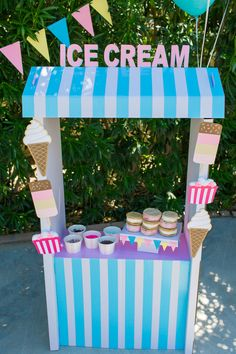 Ice cream stand from a Pink & Blue Summer Ice Cream Party at Kara's Party… ideas ideas event ideas party ideas wall ideas wedding styles decoration ideas decoration ideas Ice Cream Stand, Ice Cream Cart, Ice Cream Theme, Diy Ice Cream, Summer Ice Cream, Pink Summer, National Ice Cream Month, Ice Cream Social, Candy Party