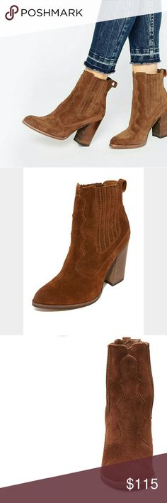 Dolce Vita suede booties Beautiful acorn suede stacked booties. Pointed toe and very comfortable. Only worn once. No flaws.    Measurements: Heel Height: 4 in Weight: 15 oz Shaft: 7.  Wasting away in my closet. Need a loving home. Offers welcome. Dolce Vita Shoes Ankle Boots & Booties