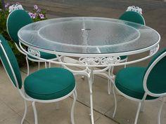 vintage patio set white table u0026 4 chairs 50u0027s euc roses iron
