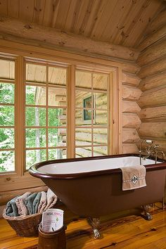 HOME DECOR – RUSTIC STYLE – log cabin bath room.
