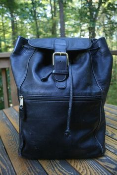 Authentic COACH vintage Black Leather Unisex Backpack Large #Coach #BackpackStyle
