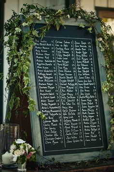 Gorgeous chalkboard seating chart, photo by Joy Marie Studios | junebugweddings.com