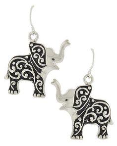 Jewelry Earrings Silver tone elephant earrings with scroll design. - Silver tone elephant earrings with scroll design. Elephant Jewelry, Elephant Earrings, Animal Jewelry, Women's Earrings, Silver Earrings, Silver Jewelry, Silver Ring, Jewlery, Pierced Earrings