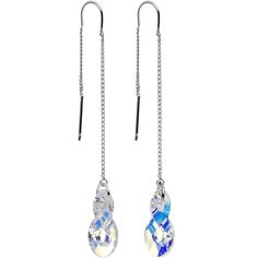 Handcrafted Clear Infinity Threader Earrings Created with Swarovski Crystals