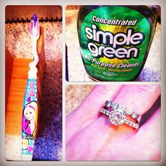 J'Adore Tip!   Straight from my jeweler, he says to use simple green and a toothbrush to clean your diamonds. It's better than jewelery cleaner and you may already have it at home.