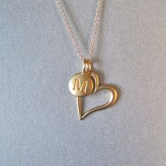 Heart Charm Necklace with Initial by tangerinejewelryshop on Etsy, $58.00