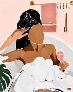 "Black Artist Space ✊🏽✊🏾✊🏿 on Instagram: ""🖌️ by @briapaints   #Repost ・・・ Self-care Sunday ✨✨✨"" Black Love Art, Black Girl Art, Art Girl, Black Art Painting, Black Artwork, Black Girl Aesthetic, Illustration Art Drawing, Abstract Line Art, Afro Art"