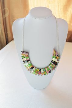 Colourful necklace handmade from recycled paper with silver plated chain. An original artistic womens jewellery design £22