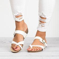 8107ef000231 Shop Leather Strap Buckle Flats Sandals online. Discover unique designers  fashion at Variedshoes.com