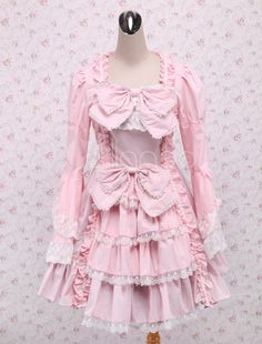 9f781c27fee5 Light Sweet Classic Bow Lace Ruffles Cotton Lolita Dress  Classic