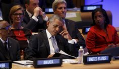 U.S. President Barack Obama looks down during the Leaders' Summit on Peacekeeping at the U...