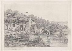 Martinus Antonius Kuytenbrouwer (jr.) | Watermolen, Martinus Antonius Kuytenbrouwer (jr.), 1850 | Landschap met een watermolen aan een beek. In de beek loopt een man met een baal hooi op zijn rug. Op het erf voor de molen staat een boerin en lopen een paar kippen. Aan de waterkant twee spelende kinderen.