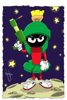Marvin The Martian Fan Art Classic Cartoon Characters, Favorite Cartoon Character, Classic Cartoons, Comic Character, Looney Tunes Cartoons, Old Cartoons, Star Trek Tattoo, Naughty Emoji, Tatoo Art