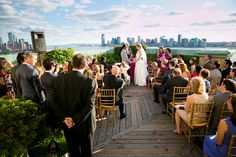 The beautiful ceremony on a perfect Spring Day - overlooking the Hudson, NYC and New Jersey!