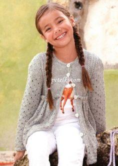 Вязание спицами для девочек. Жакет