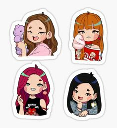 """Blackpink (AIIYL) set"" Stickers by Llama-sama Pop Stickers, Tumblr Stickers, Printable Stickers, Korean Stickers, Fanarts Anime, Journal Stickers, Bts Drawings, Bts Chibi, Aesthetic Stickers"