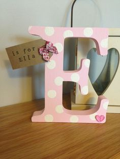 Personalised Freestanding Wooden Letter Initial Gift Baby Boy Girl Shabby Chic…