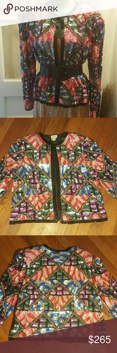 Vintage Judith Ann Creations Sequined cocktail jkt Simply Incredible multicolored abstract design Vintage 1980s Judith Ann Creations cocktail jacket. This piece is beaded,embroidered, &sequined.  in perfect condition. 100% pure silk & lining. Padded shoulders. Hook & eye closure at neck. Sz S B 40in L 22in SLV 23.5in Sh to Sh 17in Jackets & Coats