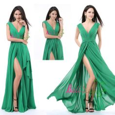 New Chiffon Green Sexy Long Formal Prom Dress Party Bridesmaid Evening Ball Gown | eBay