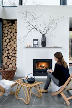 Pretty sure that's a gas fireplace. Ironic.