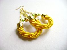 Shining bright  yellow rope cord earrings by DivinaLocura on Etsy, $21.90