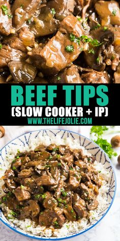 beef and rice Making Beef Tips just got even easier when made in your crockpot or instant pot! This easy dump and go recipe for beef tips and rice gives you fall-apart-tender and juicy st Stew Beef And Rice, Beef Tips And Rice, Beef Tips And Gravy, Steak And Rice, Beef Tips Slow Cooker, Crock Pot Beef Tips, Slow Cooker Recipes, Beef Tip Recipes, Stew Meat Recipes