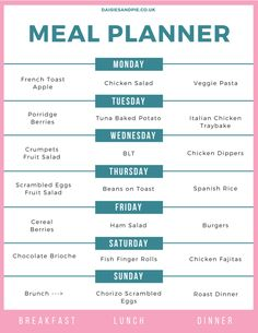 Family meal plan, family meal ideas, meal planner, easy family food from daisies and pie