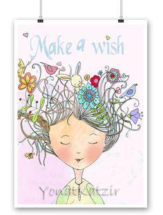Make a wish poster,Girl's Room, pink, Wall Art Decor, Print illustration,Flower girl,Gift for a girl, Kids Room Decor, Nursery Wall Art by YonatKatzir on Etsy
