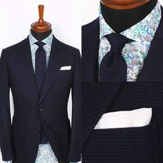 Our most versatile jacket, perfect for autumn, the Lecce dark blue mesh blazer. Smart enough to work in most formal environments, but with an interesting mesh texture and patch pockets making it ideal for dressing-up casual trousers. Shown here with our Florence polin shirt and a Blue knitted tie.  www.Grandfrank.com