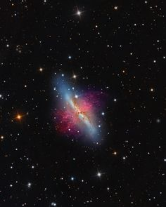 Swipe to zoom in and comment the first thing that comes to mind You can find these two galaxies around 12 million light years away. So if you have a spaceship traveling at the speed of light; technically it would take 12 million years to arrive. The Galaxy on the left is Messier 82, aka the cigar Galaxy. The one on the right is Messier 81, which is much bigger and brighter; so you can see it as a smudge through binoculars or a small telescope. The spiral shape is only visible in larger t...