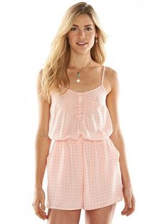 Be pretty in pink in this LC Lauren Conrad Print Pintuck Romper