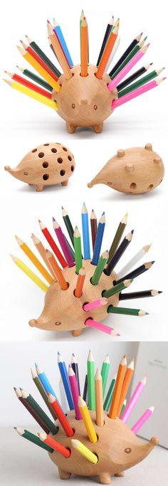 Hedgehog Wooden Pen Pencil Holder Stand Office Desk Organizer
