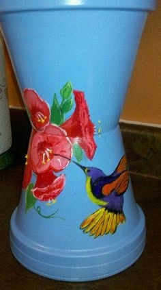 Partial view of Hummingbird birdbath made by Christine Alexander