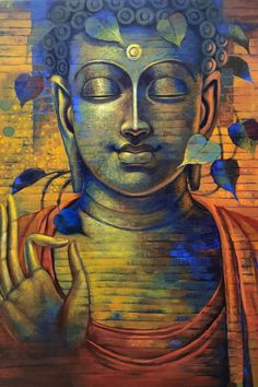 Art Drawings Beautiful, Beautiful Paintings, Budha Painting, Bodh Gaya, Round Canvas, Buddha Sculpture, Gautama Buddha, Indian Art Paintings, India Art