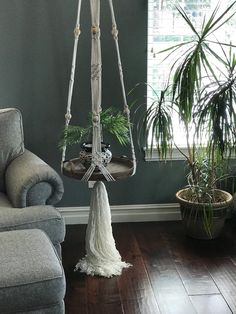 Excited to share this item from my shop: Macrame hanging table,macrame shelf,hanging table,floating shelf,macrame plant hanger Hanging Table, Hanging Plants, Diy Hanging, Hanging Terrarium, Unique Bedside Tables, Unique Nightstands, Bedside Table Decor, Round Wood Tray, Macrame Projects