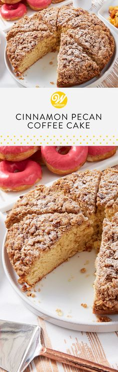 Our yummy Cinnamon-Pecan Streusel Coffee Cake recipe is easy to make and smells amazing while it bakes! No brunch celebration would be complete without a tasty coffee cake! #wiltoncakes #brunch #brunching #brunchin #brunchtime #brunchlife #brunchdate #sundaybrunch #brunchparty #baking #morning #lunch #breakfast #afternoon #classic #recipes #snack #mealtime #homemade