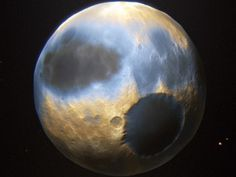 Data beamed back from NASA's New Horizons spacecraft, which made its close flyby of Pluto on July 14, has produced yet another amazing image of the dwarf planet from close range. Description from article.wn.com. I searched for this on bing.com/images