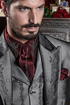 Italian bespoke gray Short Frock Coat in New Performance light fabric with silver floral embroidery, style 1274 Ottavio Nuccio Gala, Baroque collection. Wedding Suit Styles, Grey Suit Wedding, Wedding Men, Wedding Ideas, Wedding Attire, Suit Fashion, Trendy Fashion, Mens Fashion, Princes Dress