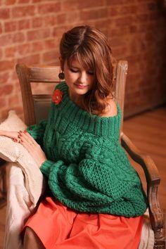 Свитер в стиле Рубан - тёмно-зелёный, вязание на заказ, вязаный свитер, рубан