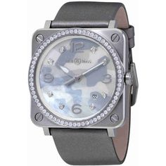 Bell and Ross Aviation Grey Camouflage Dial Ladies Diamond Watch ($4,133) ❤ liked on Polyvore featuring jewelry, watches, analog watches, dial watches, bell ross watches, diamond dial watches and quartz movement watches