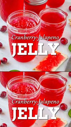 Cranberry-Jalapeno Jelly Craving a sweet jelly? This easy-to-make jelly cranberry pepper jelly recipe is made with jalapeno peppers and fresh cranberries. It is both delicious and sweet. Great for a quick spread or even as a glaze. Jalapeno Jelly Recipes, Jalapeno Pepper Jelly, Pepper Jelly Recipes, Hot Pepper Jelly, Canning Pepper Jelly, Canning Jalapeno Peppers, Jalapeno Jam, Home Canning Recipes, Sauces