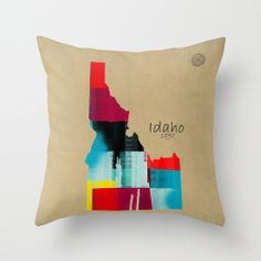 idaho state map throw pillow cover..modern map art by Oxleystudio, $30.00