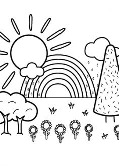Nature Coloring Page For Kids With Rainbow Printable Free