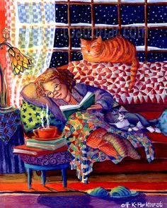 """""""La lectura, como el amor, es la piedra ideal para afinar el alma"""" Las aventuras de un libro vagabundo ,Paul Desalmand - Ilustración de Kim Parkhurst"""