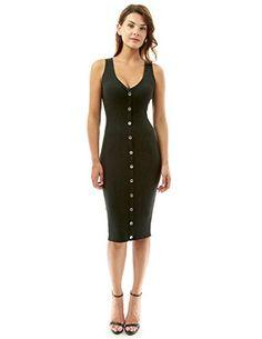 7bfafab865 PattyBoutik Women s V Neck Sleeveless Knit Dress (Black S... https