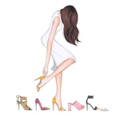 So many shoes and only two feet! A little I hope you're all having a dryer, sunnier day than me. When will the sun come out, and stay out? Fashion Design Drawings, Fashion Sketches, Fashion Art, Love Fashion, Illustration Mode, Illustrations, Black Women Art, Oeuvre D'art, Ladies Day