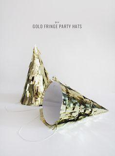 DIY gold fringe party hat